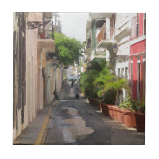 Quiet Little Street of Puerto Rico Tile