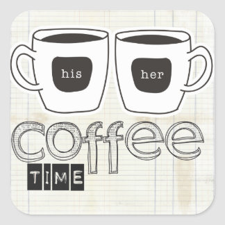 quiet moments coffee time square sticker