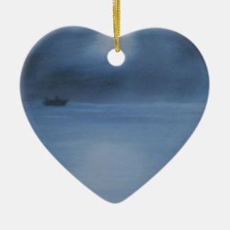 quiet ocean night alone ceramic heart ornament