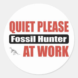 Quiet Please Fossil Hunter At Work Round Sticker