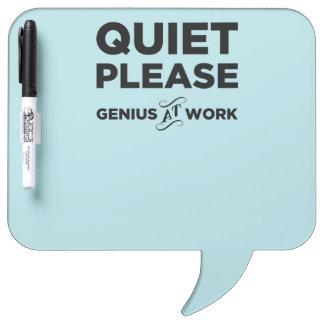 Quiet Please Genius At Work Dry Erase Whiteboard