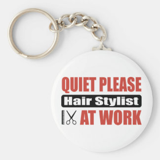 Quiet Please Hair Stylist At Work Keychain