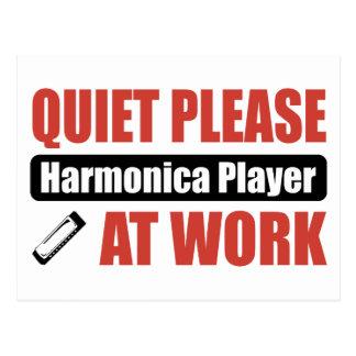 Quiet Please Harmonica Player At Work Postcard