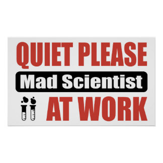Quiet Please Mad Scientist At Work Poster