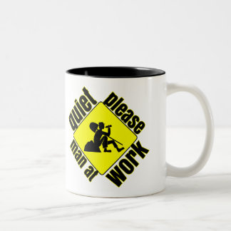 Quiet please, man at work Two-Tone coffee mug