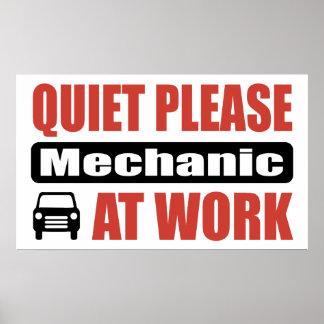 Quiet Please Mechanic At Work Poster