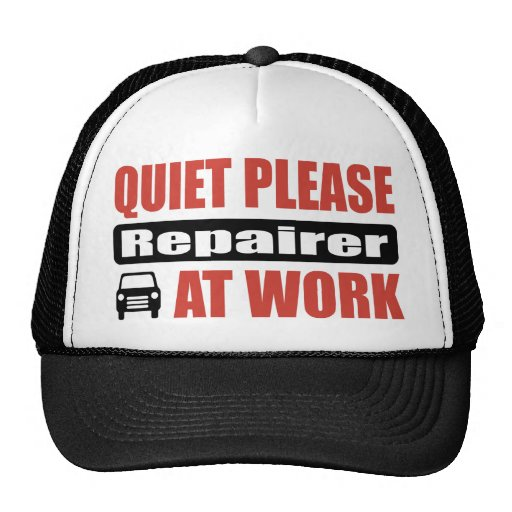Quiet Please Repairer At Work Mesh Hats