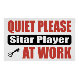 Quiet Please Sitar Player At Work Poster