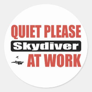 Quiet Please Skydiver At Work Round Sticker