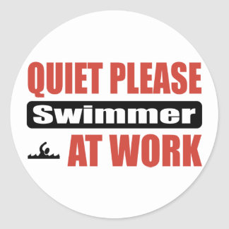 Quiet Please Swimmer At Work Classic Round Sticker