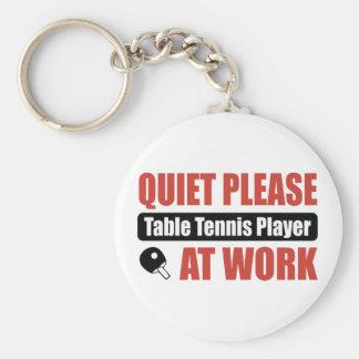 Quiet Please Table Tennis Player At Work Basic Round Button Keychain