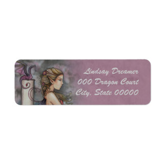 Quiet Thoughts Fairy and Dragon Art Return Address Label