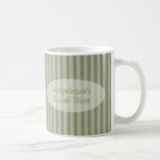 Quiet Time Khaki and Beige Stripes with Your Text Coffee Mug