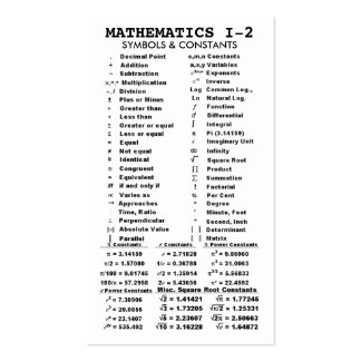 Quik-Ref Mathematics I-2 Pocket/Wallet Double-Sided Standard Business Cards (Pack Of 100)
