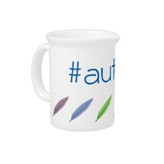 Quill pens and author hashtag pitcher