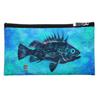 Quillback On Blue - Sueded Medium Cosmetic Bag