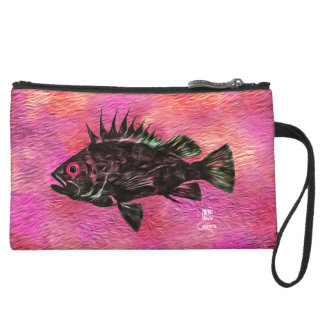 Quillback On Pink - Sueded Mini Clutch