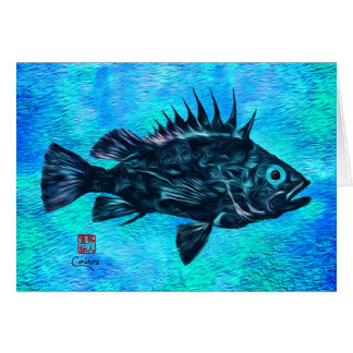 "Quillback Rockfish On Blue - 7"" x 5"" Art Card"