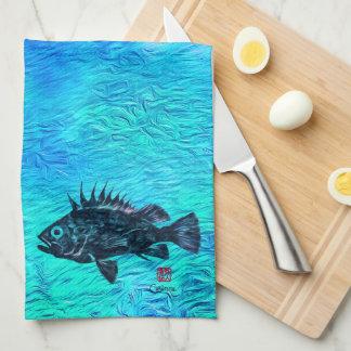 Quillback Rockfish On Blue Green  - Kitchen Towel