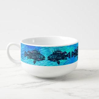 Quillback Rockfish On Blue - Soup Mug
