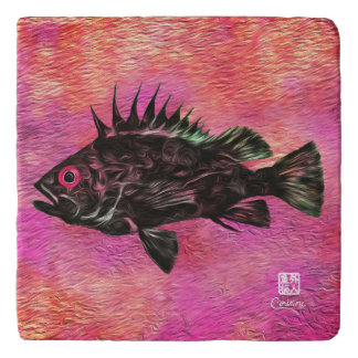 Quillback Rockfish On Pink - Marble Trivet
