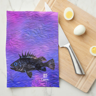 Quillback Rockfish On Pink Purple  - Kitchen Towel