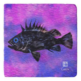 Quillback Rockfish On Purple - Marble Trivet