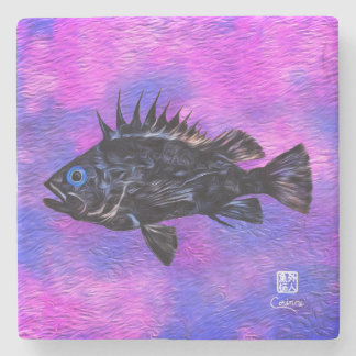 Quillback Rockfish On Purple R - Marble Coaster