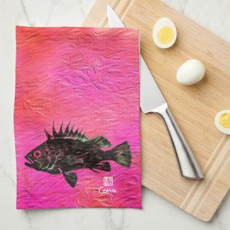 Quillback Rockfish On Salmon/Pink - Kitchen Towel