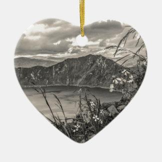 Quilotoa Lake Latacunga Ecuador Ceramic Heart Ornament