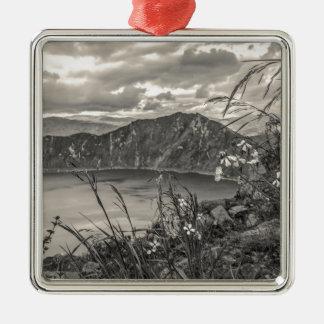 Quilotoa Lake Latacunga Ecuador Silver-Colored Square Ornament