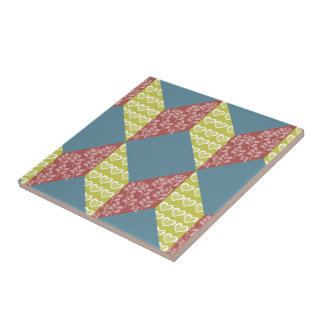 Quilt Baby Block Pattern in Retro Colors Tile
