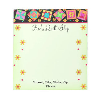 Quilt Block Green and Black Notepad
