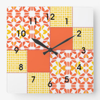 "Quilt Block Pattern  ""Autumn Tints"" Square Wall Clock"
