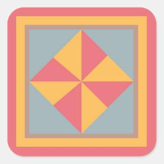 Quilt Block Sticker - Pinwheel (red, gold, & blue)