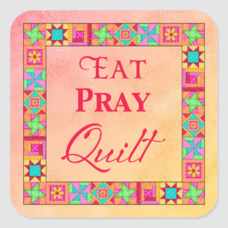 Quilt Blocks Border Eat Pray Quilt Coral Yellow Square Sticker