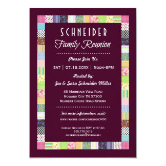 Quilt Design Family Reunion Dark Invitations