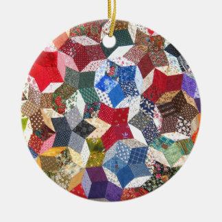 Quilt Fabric Ceramic Ornament