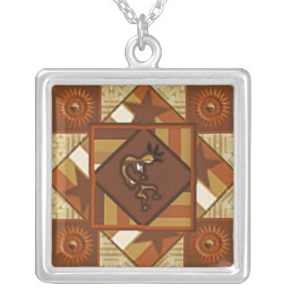 Quilt Indian Kokopelli Necklace