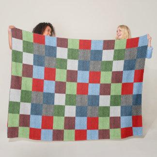 Quilt-Like Swatch Color Blocks Fleece  Blanket