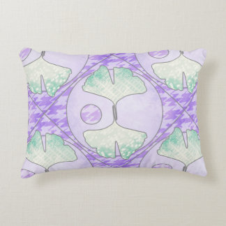 Quilt Look Light Green Purple Ginkgo Leaf Design Accent Pillow
