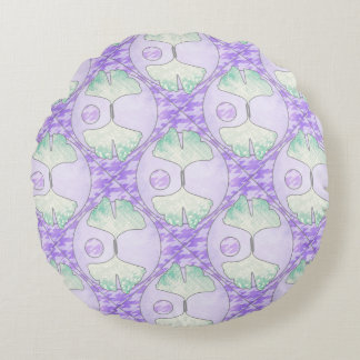 Quilt Look Light Green Purple Ginkgo Leaf Design Round Pillow