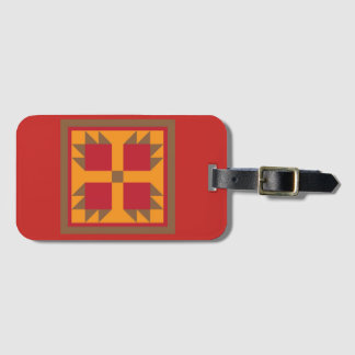 Quilt Luggage Tag - Bear Paw Block (red/brown)