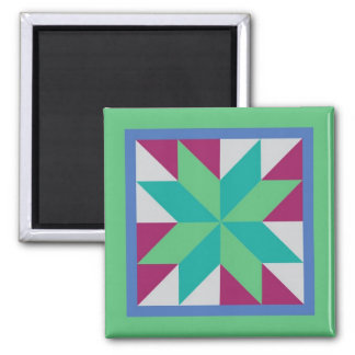 Quilt Magnet - Hunter's Star (teal/purple)