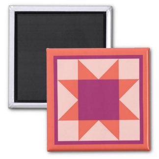 Quilt Magnet - Sawtooth Star (pink/orange)