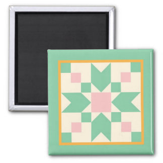 Quilt Magnet - Stepping Stones (mint and pink)