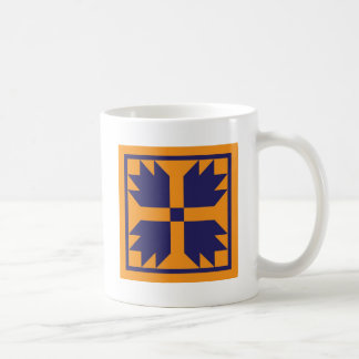 Quilt Mug - Bear Paw Block (gold and blue)