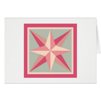 Quilt Note Card - Beveled Star (pink/grey)