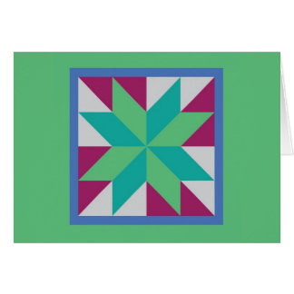 Quilt Note Card - Hunter's Star (Green)