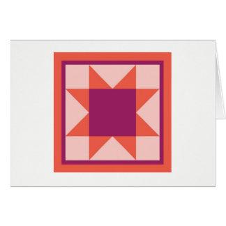Quilt Note Card - Sawtooth Star (orange/pink)